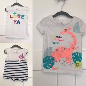 3 Carter's Tees for 4T Toddler Girls